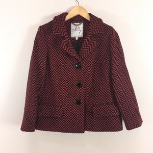 Milly Chevron Red Black Button Up Coat Jacket